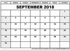 September 2018 Calendar Printable Portrait