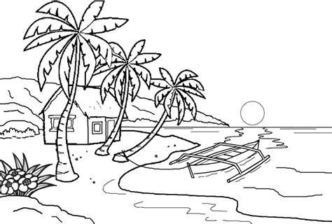 mewarnai pemandangan pantai yang indah belajarmewarnai info