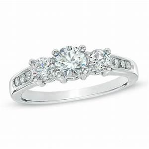 100 ct tw diamond three stone past present future With past present future ring with wedding band