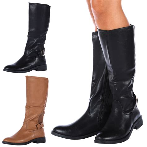 womens boots ladies mid calf flats wide stretch knee high