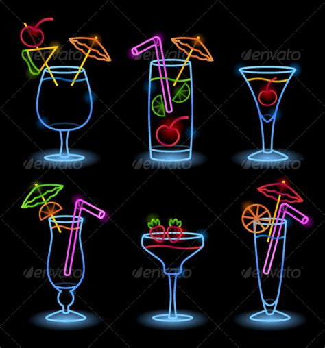 decorative neon signs neon tropical drinks travel conceptual