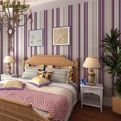 Beibehang Bedroom Wallpaper Purple Stripe Wallpaper Wall