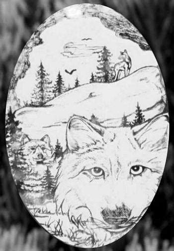 Oval Static Cling Wolf Etched Decals - Static Cling Glass