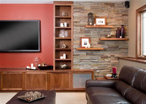 faux stone wall Basement Contemporary with built ins cabinets cultured stone beeyoutifullife.com
