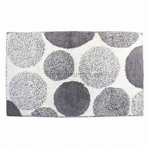 Tapis Rond Noir Et Blanc : tapis de bain coton julia gris tapis salle de bain eminza ~ Dailycaller-alerts.com Idées de Décoration