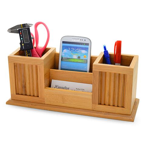 Bamboo Twin Pencil Cup Desktop Organizer  New Job Gifts