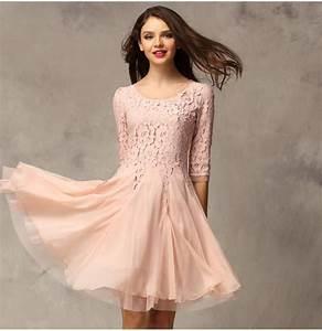 half sleeve beaded pink slim chiffon lace knee length With robe de cocktail combiné avec bracelet petite fille