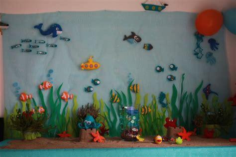 d 233 coration feutrine poissons pieuvre sous marin buffet d anniversaire sur le th 232 me quot sous l