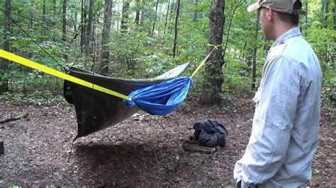 Diy Hammock Tent by Diy Improvised Hammock Made Out Of Tarps Eric Tbp