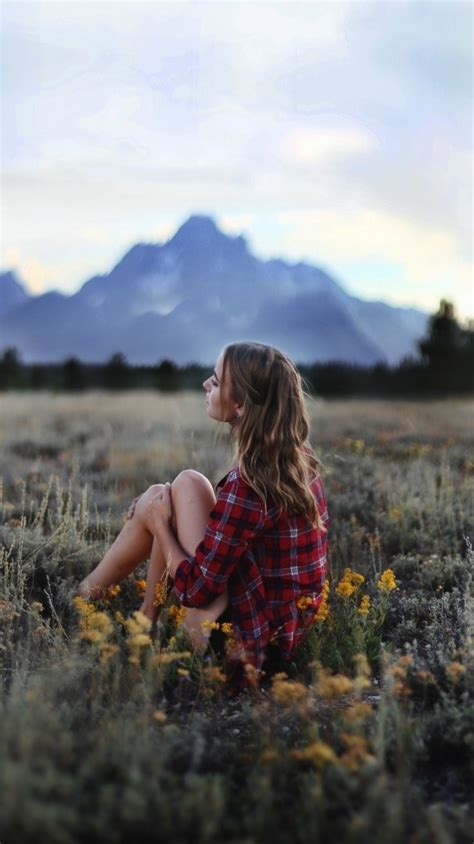 girl sitting  nature grass flowers mountains iphone