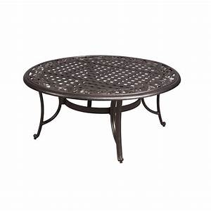 hampton bay edington 42 in round patio coffee table 131 With patio chairs and coffee table