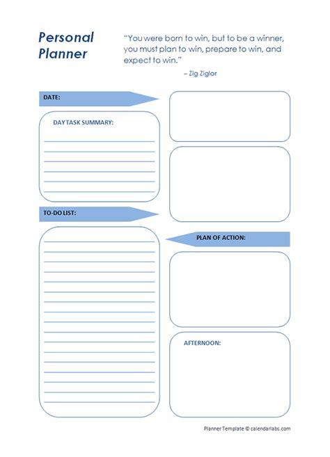 printable daily planner template  printable templates