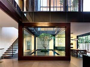 Open, Tropical, Home, With, Interior, Courtyard, And, Wood, Features