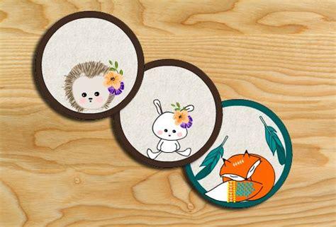 printable cute woodland creatures cupcake toppers