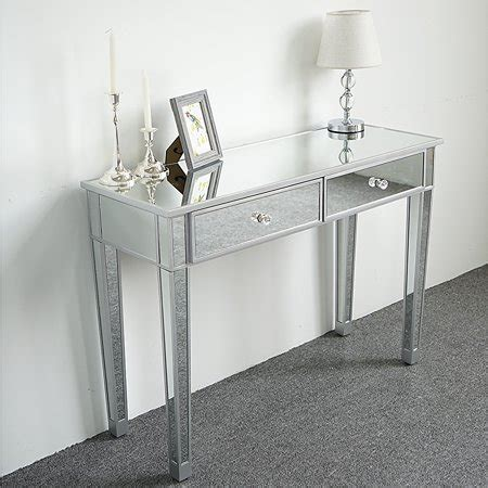 Glass Mirror Vanity Table by Zimtown 2 Drawer Mirrored Vanity Desk Console Dressing