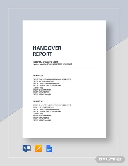 handover report templates  docs word