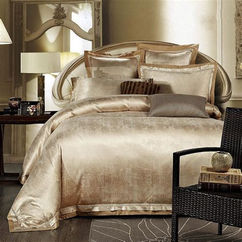 White And Gold Bed Covers gold white blue jacquard silk bedding set luxury 4pcs