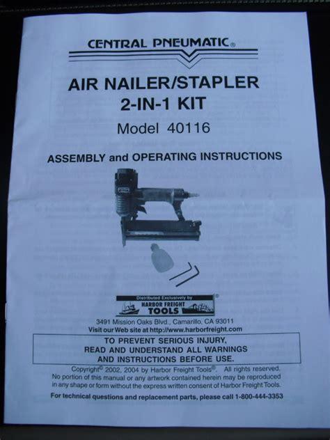Central Pneumatic Floor Nailer Manual by Central Pneumatic Air Nailer Stapler Model 40116 Om Ebay