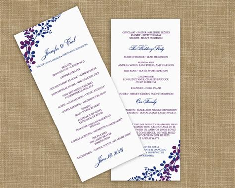 etsy wedding program template royal blue and purple wedding the merry