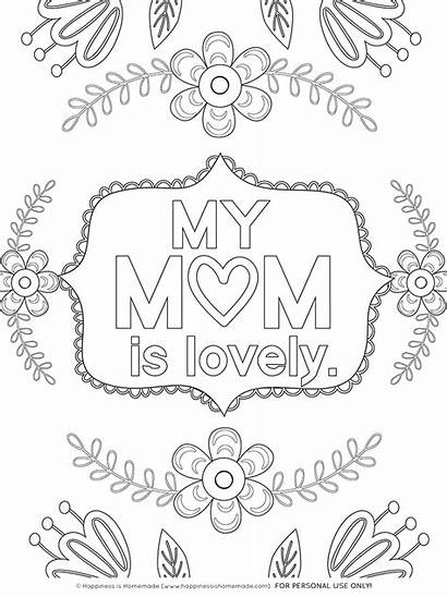 Coloring Mom Pages Printables Mother Mothers Printable