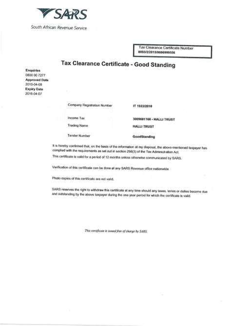 To obtain any tax clearance certificate from the internal revenue service, customs excise and preventive service or the value added tax service. Tax Clearance Certificate.PDF
