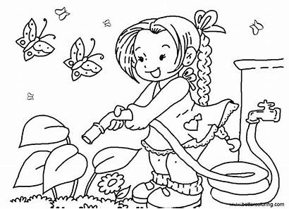 Coloring Garden Watering Pages Flowers Printable Adults
