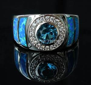 Cool blue fire opal ring for men Free shipping-in Rings ...