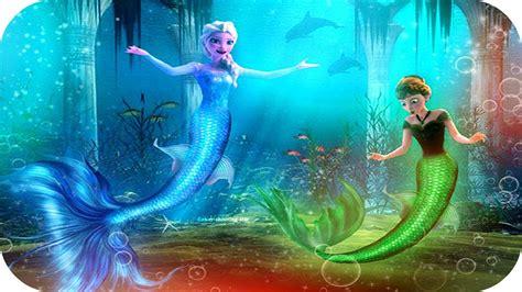 Disney Mermaid Princess Elsa And Princess Anna Becomes A
