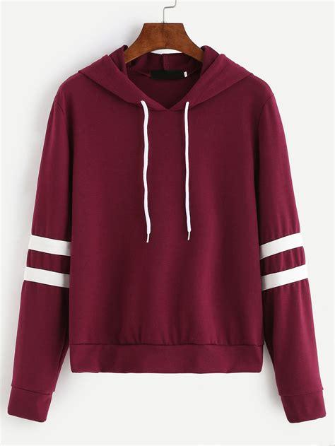 hooded drop shoulder sweatshirt burgundy varsity striped drawstring hooded sweatshirt
