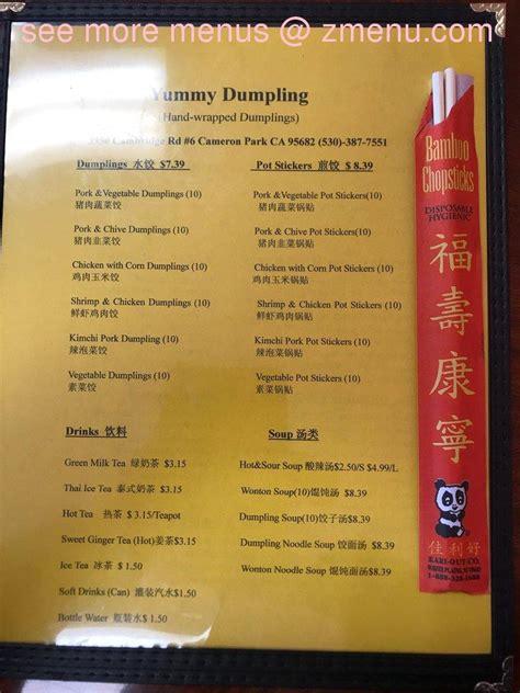 menu  yummy dumplings restaurant cameron park