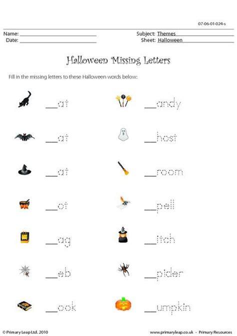 primaryleapcouk halloween missing letters worksheet pell