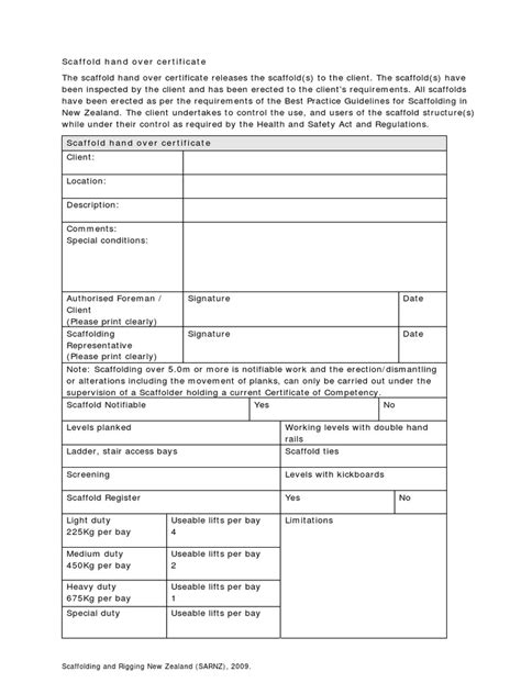 Scaffold Handover Certificate Template Scaffold Handover Certificate