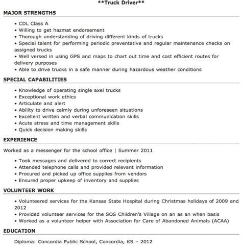 New Truck Driver Resume by Entry Level Truck Driver Resume Sle Http