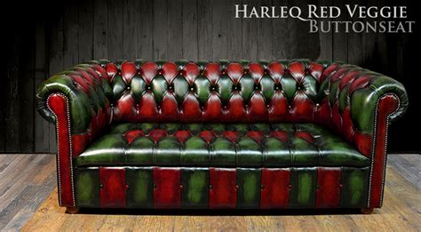 Poltrone Chesterfield Vintage : Chesterfield Red Green Leathers Patchwork Multicolour