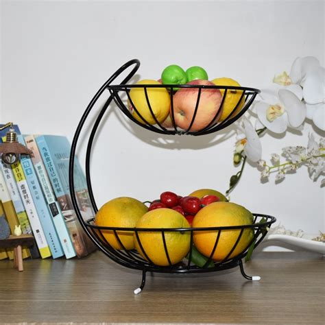 kitchen accessories fruit basket storage rack double layer