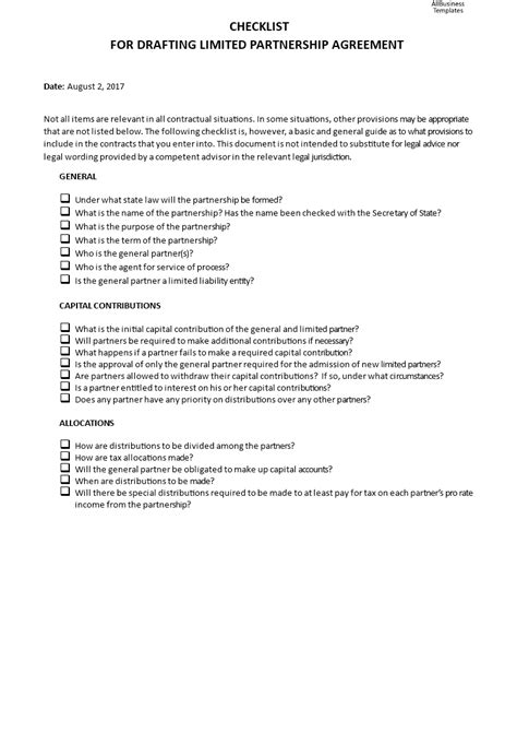 checklist  drafting limited partnership agreement