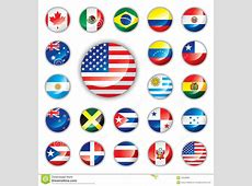 Glossy Button Flags America Stock Vector Illustration
