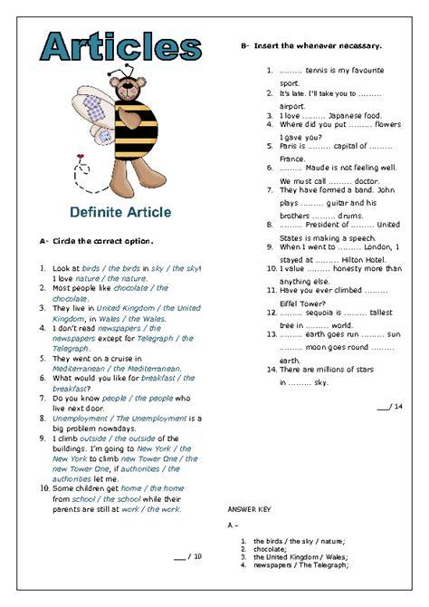 articles definite article worksheet