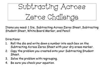 Subtracting Across Zeros Math Center  Common Core Aligned