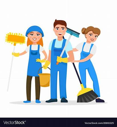 Cleaning Cartoon Staff Service Vector Characters Smiling