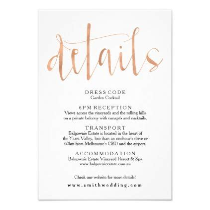 rose gold wedding details info card wedding invitations