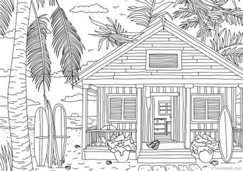 beach house printable adult coloring page  favoreads