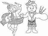 Coloring Scottish Cartoon Dance Scotland Pages Learning Territories Culture sketch template