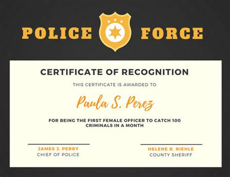 black  yellow police badge certificate  recognition