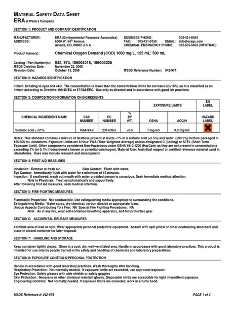 MSDS COD 1K | Sulfuric Acid | Personal Protective Equipment