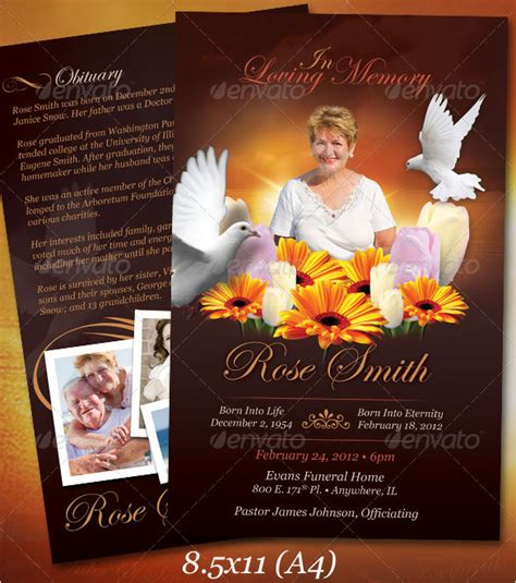 funeral obituary template   word excel  psd