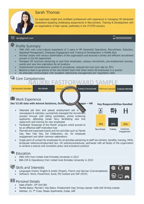 Visual Resume Formats by Visual Cv Sles Visual Sle Cv Naukrigulf