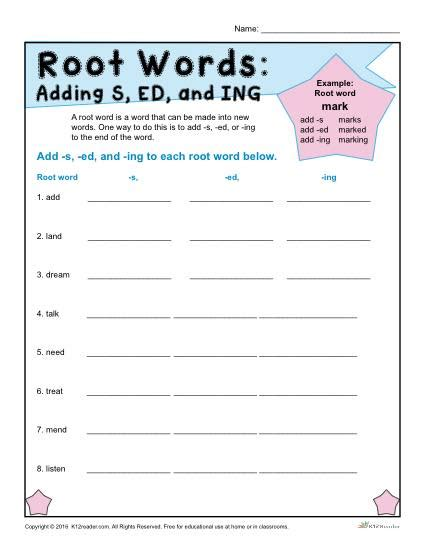 root words worksheets adding s ed and ing root words worksheets adding s ed and ing