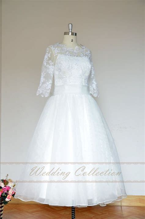 lovely tea length elopement dress informal wedding dress