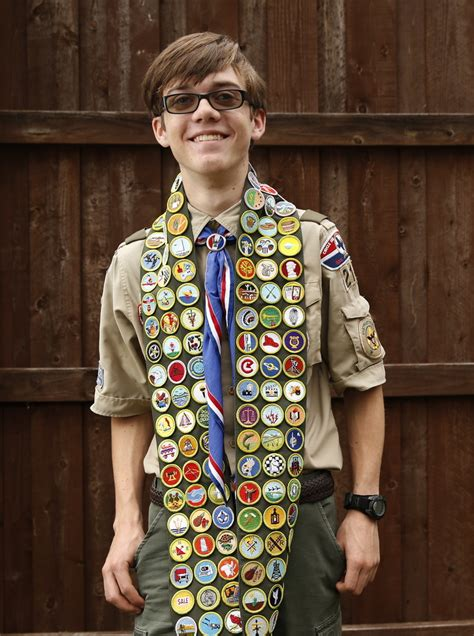 accomplished texas boy scout earns   merit badges